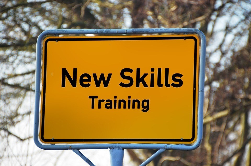 Sign that states new skills training.